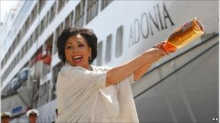 Dame Shirley Bassey prepares to name the Adonia