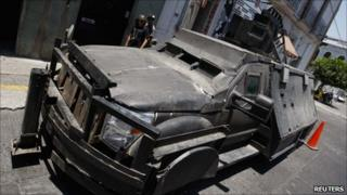 Narco-tank outside a police station in Jalisco