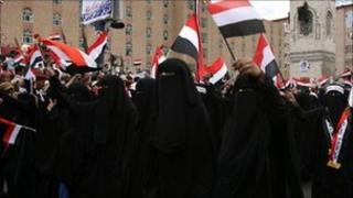 Yemeni women take part in a march against President Saleh in Sanaa on 22 May 22, 2011.