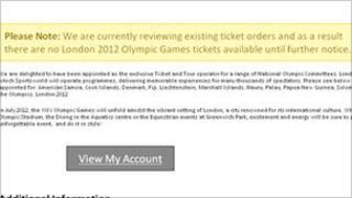 Message on Sportsworld website regarding Olympic tickets