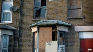 Derelict properties in Stratford, east London