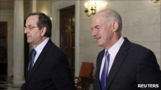 Conservative opposition party leader Antonis Samaras (L) and Greek Prime Minister George Papandreou