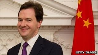 George Osborne in front of a Chinese national flag
