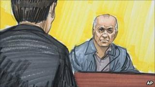 Courtroom sketch of David Headley