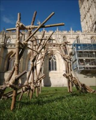 A structure by David Behar-Perahia at Gloucester Cathedral
