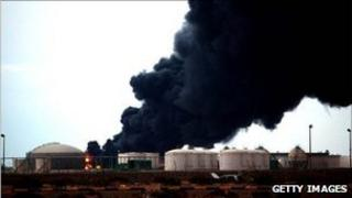 Fire at the Ras Lanuf oil terminal in Libya