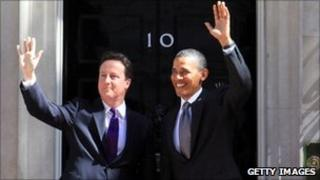 UK PM David Cameron and US President Barack Obama at No 10 Downing St (25 May 2011)