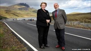 Norma Young and John Laing on A855. Pic: Highland Council