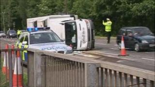 The security van on its side on the A470 on Thursday afternoon