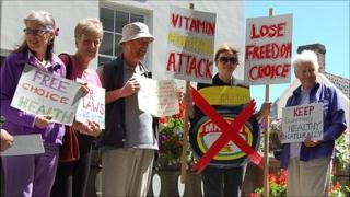 Protesters outside Guernsey's Royal Court