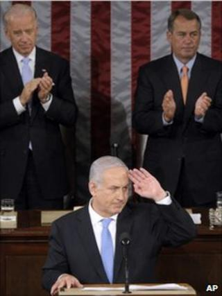 Israeli Prime Minister Benjamin Netanyahu speaking on Capitol Hill to US lawmakers