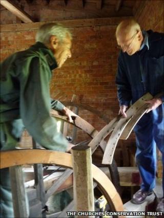 Men fixing church bells