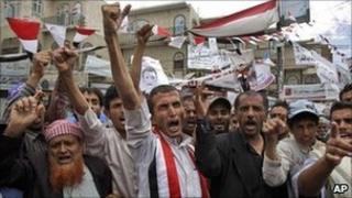 Protesters demand the resignation of President Ali Abdullah Saleh in Sanaa, Yemen, Wednesday, 25 May 2011