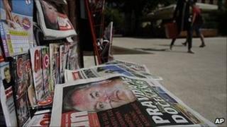 News stand in Sarajevo 27 May 2011