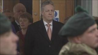 First Minister Peter Robinson attended the RIR homecoming parade in Castlereagh