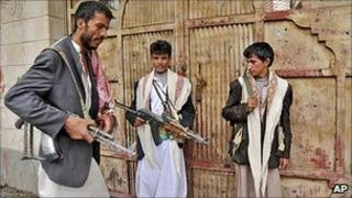 Armed tribesman loyal to Sheik Sadeq al-Ahmar