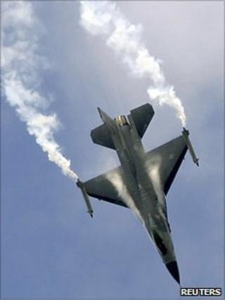 File picture of a US Lockheed Martin F-16 at an air display at the Farnborough International Air Show