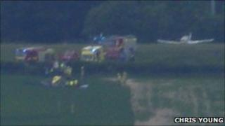Emergency crews at incident at Compton Abbas