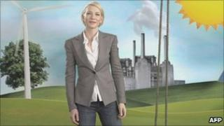 Australian actress Cate Blanchett taking part in an advertising campaign supporting a carbon tax
