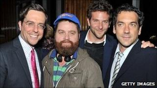 Ed Helms, Zach Galifianakis, Bradley Cooper and director Todd Phillips