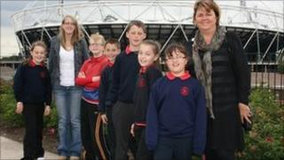 Staff and pupils from Ysgol Pen-Y-Bryn in Bethesda