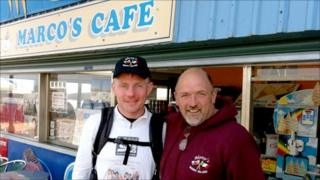 Richard Kell (left) ran from Billericay to Barry Island, where he met the orginal Marco of Marco's Café