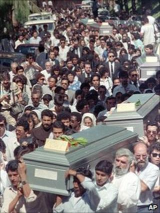 Funderal procession for the murdered priests - file photo 19 November 1989