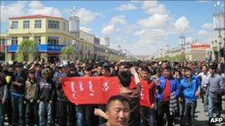 Handout photo taken on May 26, 2011 and released on May 31, 2011 by Southern Mongolian Human Rights shows Mongolian herders and students protesting in Huveet Shar Banner