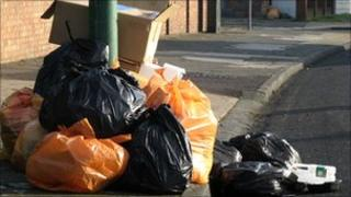 Rubbish ready for collection