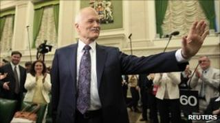 NDP leader Jack Layton on Parliament Hill in Ottawa