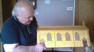Mickey Donaghy with his model of Drumragh chapel