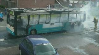 Bus fire in Coalville