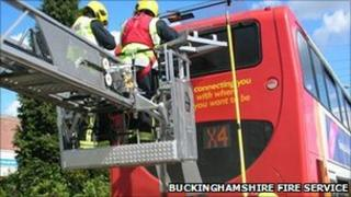 The rescue operation taking place (Picture: Buckinghamshire Fire Service)