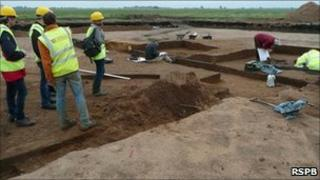 Archaeologists digging at an RSPB site in Cambridgeshire