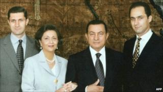 (From left) Alaa Mubarak, Suzanne Mubarak, Hosni Mubarak and Gamal Mubarak (undated)