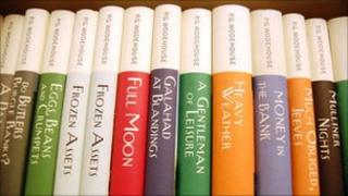 A row of books by PG Wodehouse