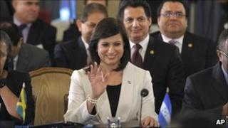 Honduras's representative Maria Antonieta Guillen at the OAS in Washington after the vote