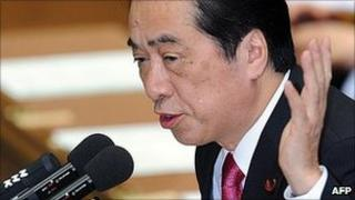 Japan Prime Minister Naoto Kan debates with opposition party