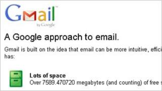 Gmail homepage, Google