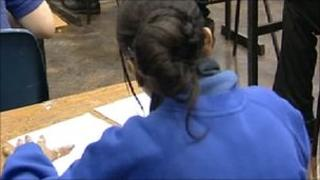 girl taking exam