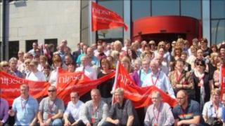 Derry City Council workers protest