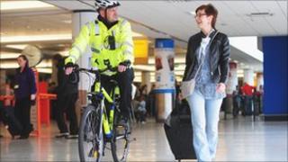 Mounted police at Edinburgh Airport