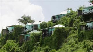 General views of the holiday cottages at the Cocos Hotel and Resort