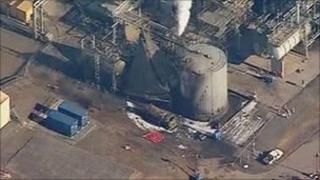Oil refinery blast site