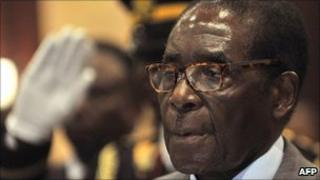 Zimbabwean President Robert Mugabe attends the opening of the Southern African Development Community summit in Windhoek on 20 May 2011