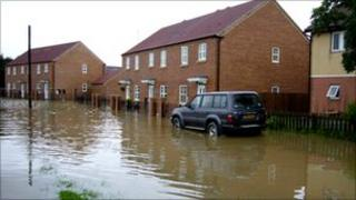 Flooded homes in South Yorkshire