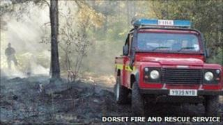 Firefighters at scene of heath fire at Hurn Forest