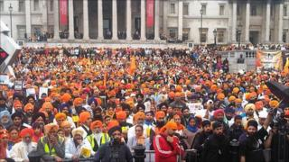 Sikhs gathered for rally in Trafalgar Square