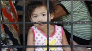 Child detainees are seen locked in a detention centre on the outskirts of Kuala Lumpur, Malaysia (file photo)