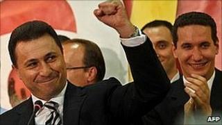 Macedonia's Prime Minister Nikola Gruevski celebrates election victory